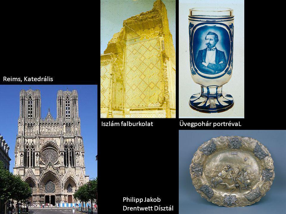 Reims, Katedrális Philipp Jakob Drentwett Dísztál Üvegpohár portrévaLIszlám falburkolat