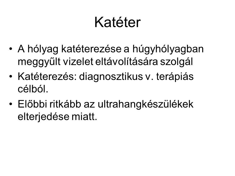Katéter •A hólyag katéterezése a húgyhólyagban meggyűlt vizelet eltávolítására szolgál •Katéterezés: diagnosztikus v. terápiás célból. •Előbbi ritkább