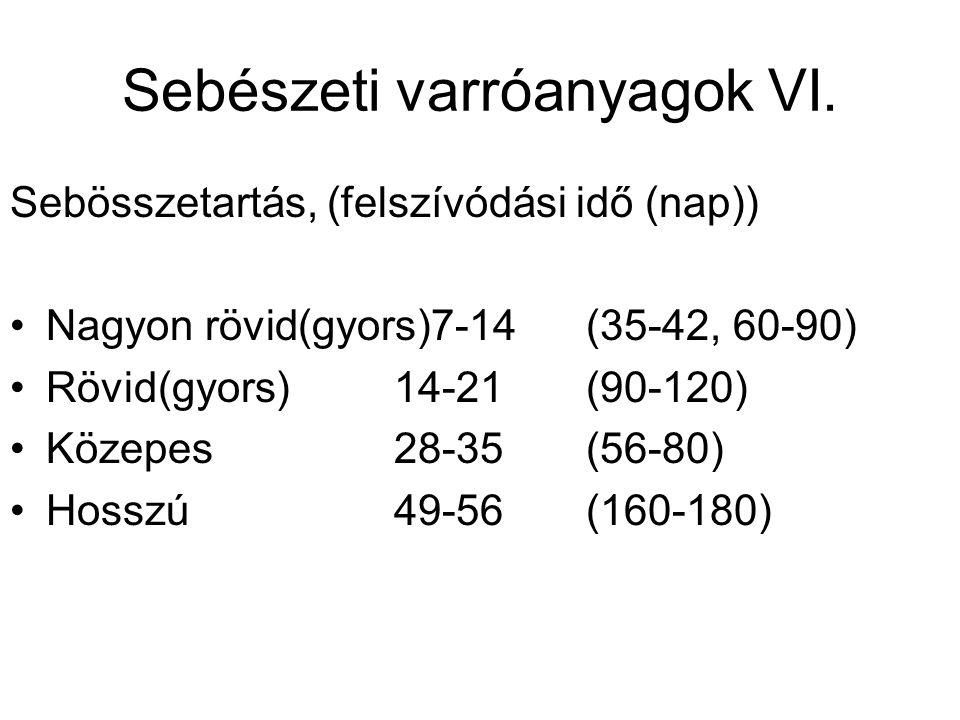 Sebészeti varróanyagok VI. Sebösszetartás, (felszívódási idő (nap)) •Nagyon rövid(gyors)7-14(35-42, 60-90) •Rövid(gyors)14-21(90-120) •Közepes28-35(56