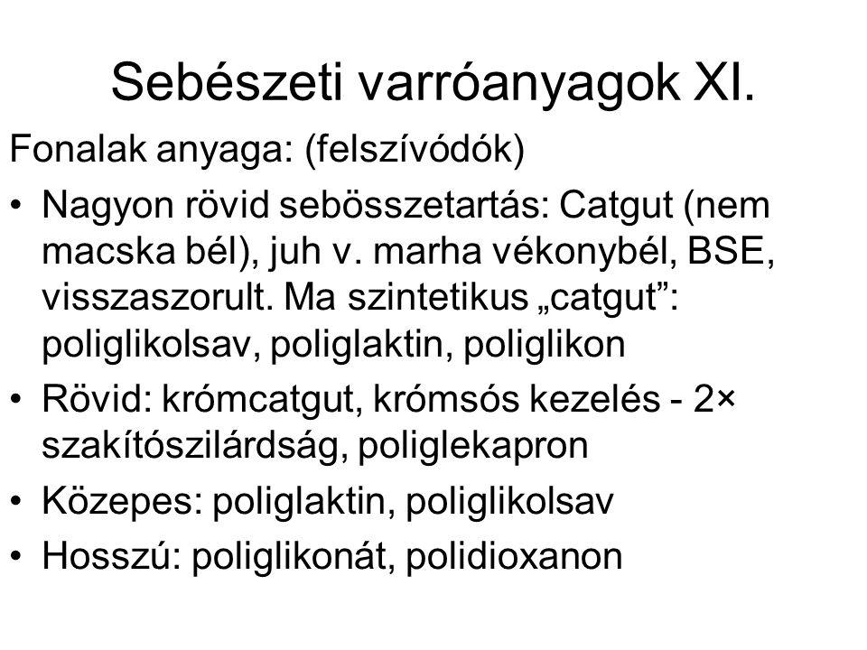 Sebészeti varróanyagok XI. Fonalak anyaga: (felszívódók) •Nagyon rövid sebösszetartás: Catgut (nem macska bél), juh v. marha vékonybél, BSE, visszaszo