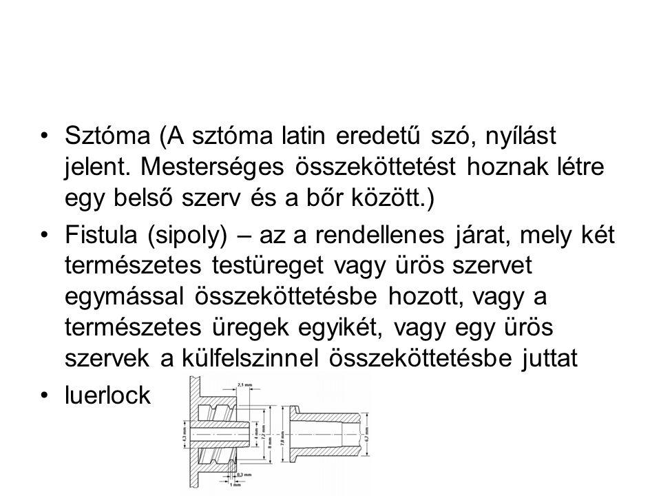 •Sztóma (A sztóma latin eredetű szó, nyílást jelent. Mesterséges összeköttetést hoznak létre egy belső szerv és a bőr között.) •Fistula (sipoly) – az