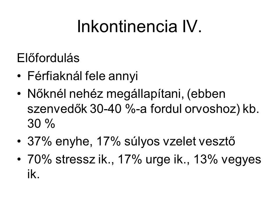 Inkontinencia IV. Előfordulás •Férfiaknál fele annyi •Nőknél nehéz megállapítani, (ebben szenvedők 30-40 %-a fordul orvoshoz) kb. 30 % •37% enyhe, 17%