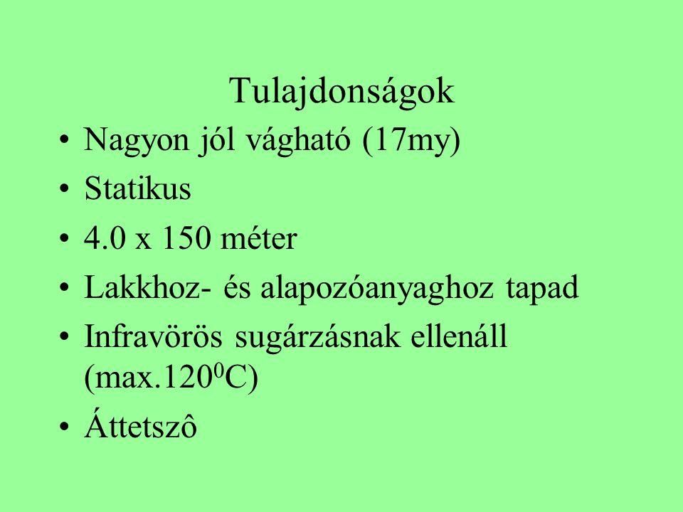 Tulajdonságok •Nagyon jól vágható (17my) •Statikus •4.0 x 150 méter •Lakkhoz- és alapozóanyaghoz tapad •Infravörös sugárzásnak ellenáll (max.120 0 C) •Áttetszô