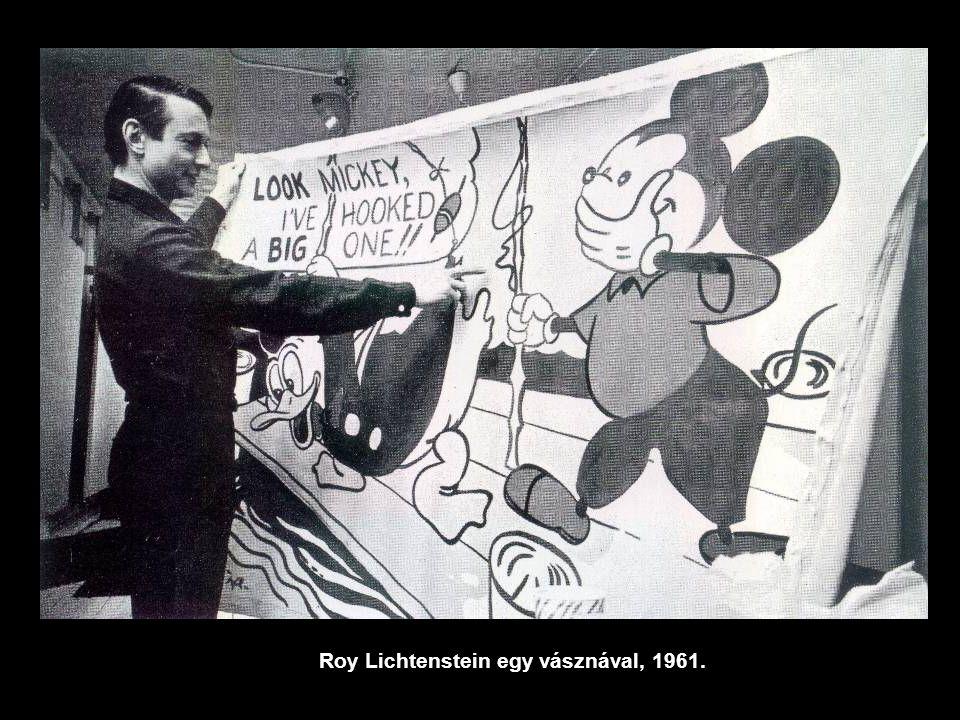 Roy Lichtenstein egy vásznával, 1961.