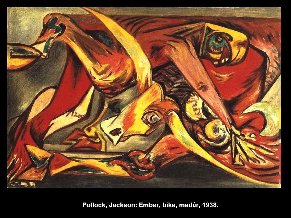 Pollock, Jackson: Ember, bika, madár, 1938.