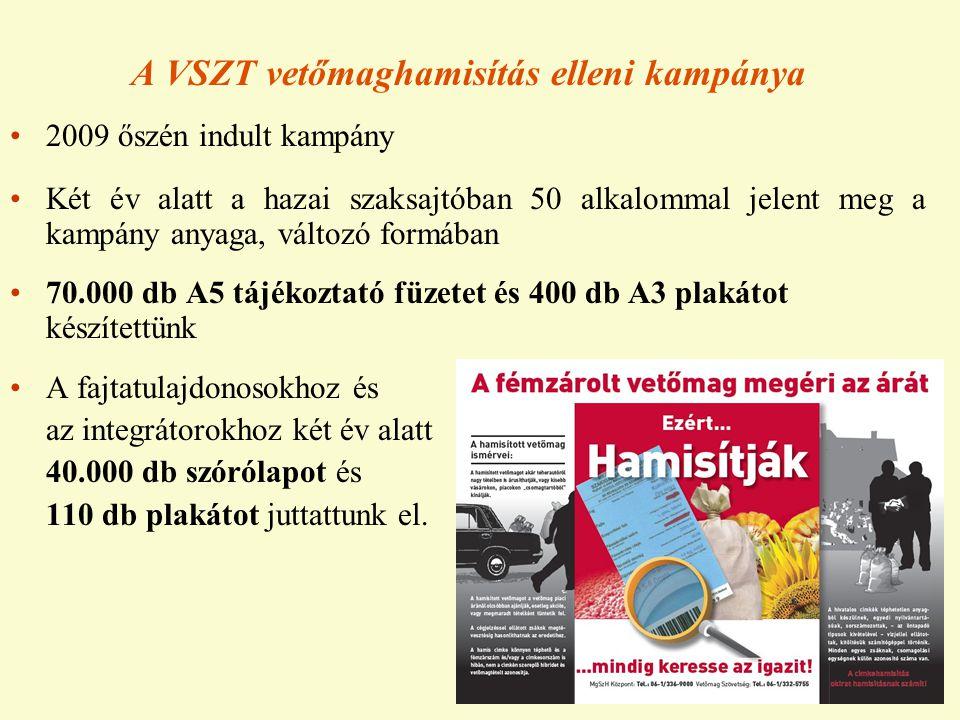 A VSZT vetőmaghamisítás elleni kampánya •2009 őszén indult kampány •Két év alatt a hazai szaksajtóban 50 alkalommal jelent meg a kampány anyaga, válto