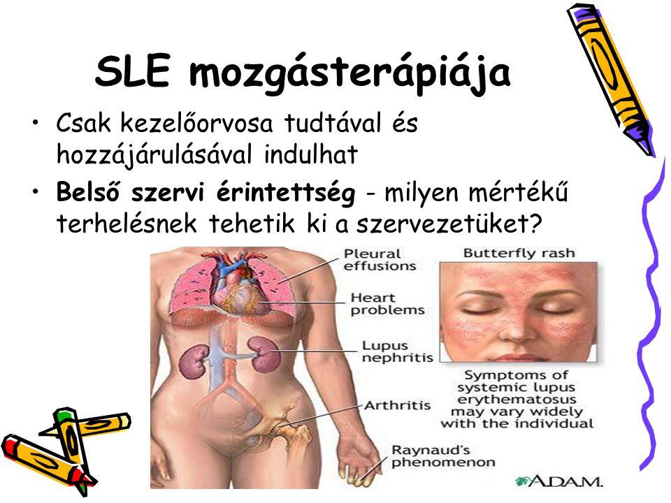 SLE mozgásterápiája •Csak kezelőorvosa tudtával és hozzájárulásával indulhat •Belső szervi érintettség - milyen mértékű terhelésnek tehetik ki a szerv