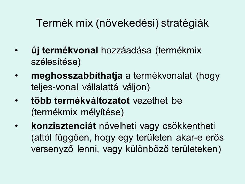 Termék mix (növekedési) stratégiák •új termékvonal hozzáadása (termékmix szélesítése) •meghosszabbíthatja a termékvonalat (hogy teljes-vonal vállalatt