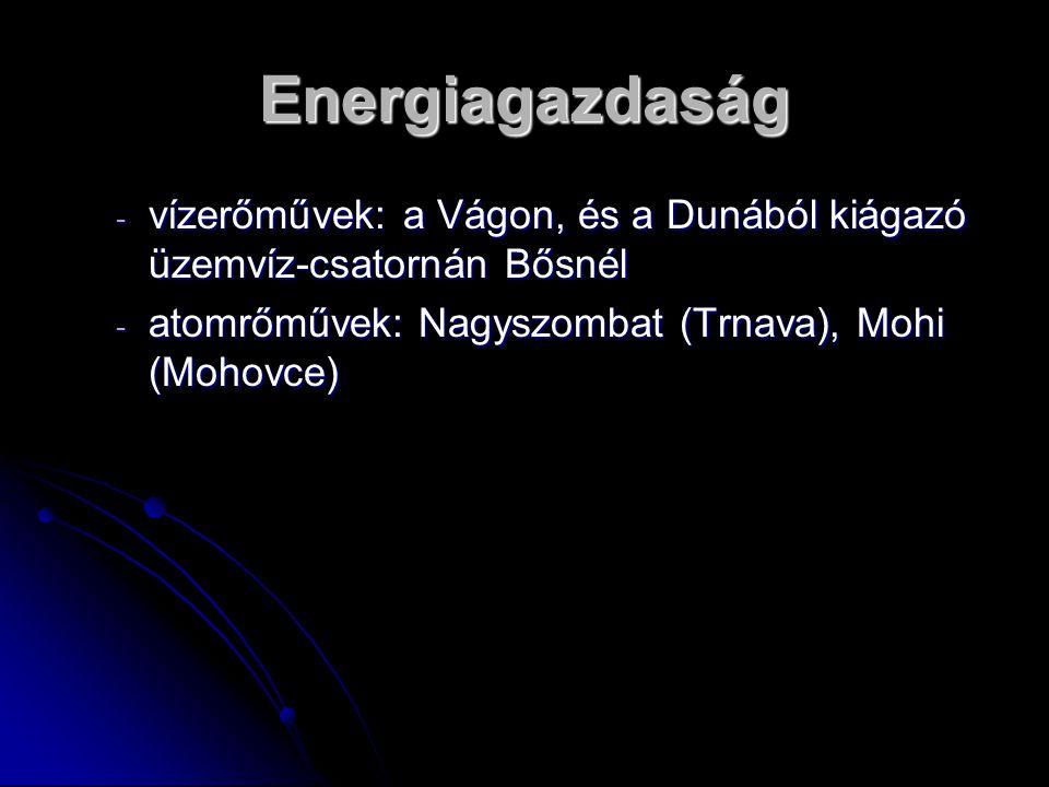 Energiagazdaság - vízerőművek: a Vágon, és a Dunából kiágazó üzemvíz-csatornán Bősnél - atomrőművek: Nagyszombat (Trnava), Mohi (Mohovce)
