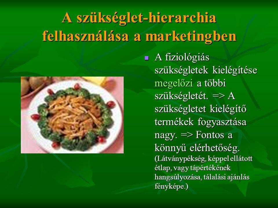 A szükséglet-hierarchia felhasználása a marketingben  A fiziológiás szükségletek kielégítése megelőzi a többi szükségletét. => A szükségletet kielégí