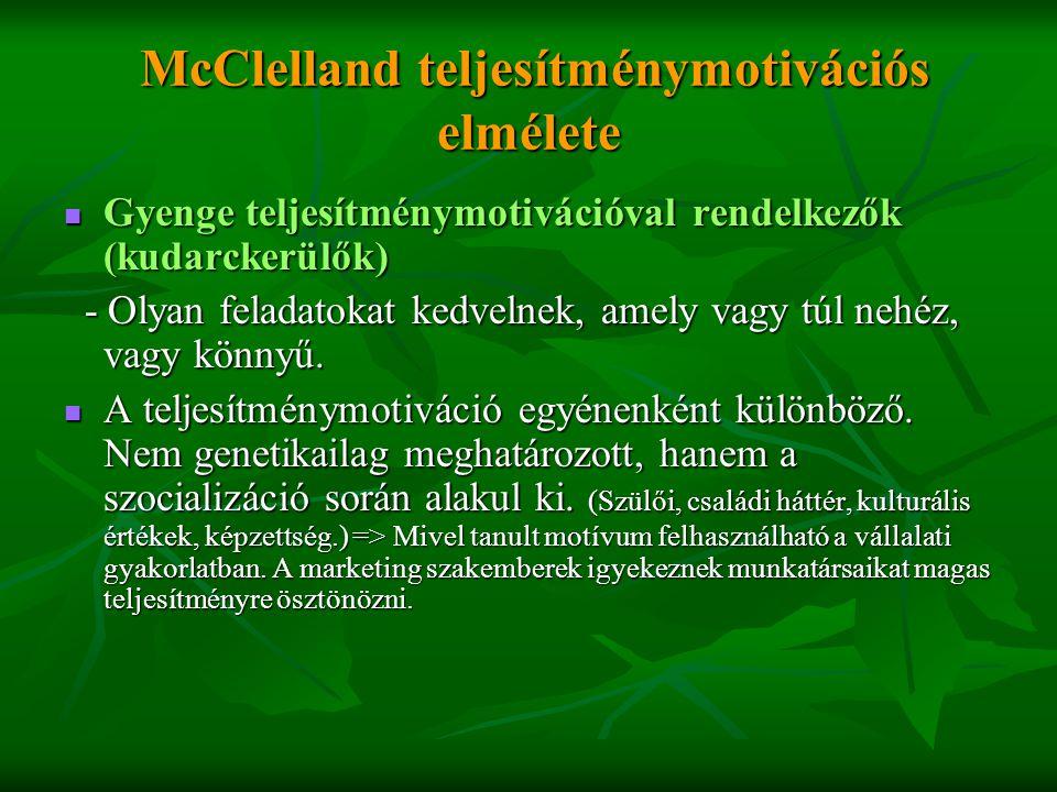 McClelland teljesítménymotivációs elmélete McClelland teljesítménymotivációs elmélete  Gyenge teljesítménymotivációval rendelkezők (kudarckerülők) -