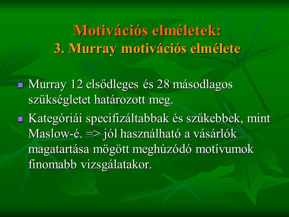 Motivációs elméletek: 3. Murray motivációs elmélete  Murray 12 elsődleges és 28 másodlagos szükségletet határozott meg.  Kategóriái specifizáltabbak