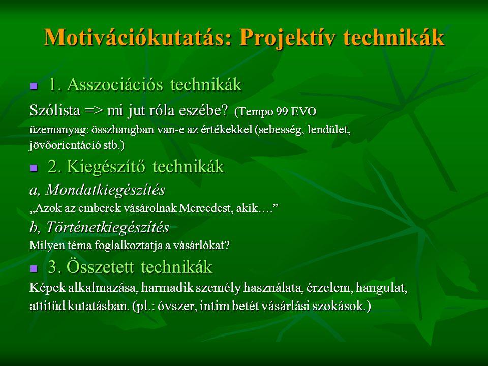 Motivációkutatás: Projektív technikák  1. Asszociációs technikák Szólista => mi jut róla eszébe? (Tempo 99 EVO üzemanyag: összhangban van-e az értéke