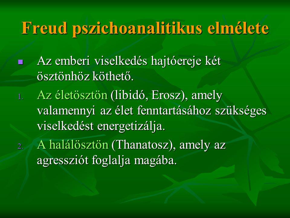 Freud pszichoanalitikus elmélete  Az emberi viselkedés hajtóereje két ösztönhöz köthető. 1. Az életösztön (libidó, Erosz), amely valamennyi az élet f