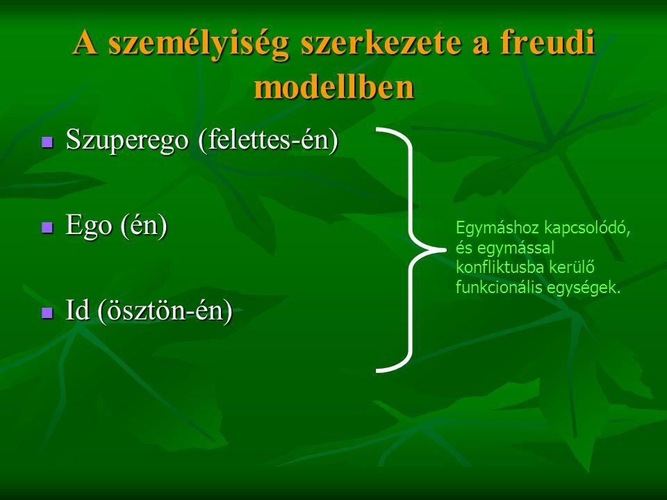 A személyiség szerkezete a freudi modellben  Szuperego (felettes-én)  Ego (én)  Id (ösztön-én) Egymáshoz kapcsolódó, és egymással konfliktusba kerü