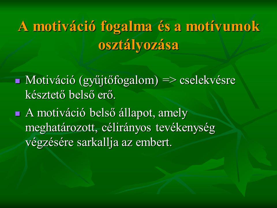 A motiváció fogalma és a motívumok osztályozása  Motiváció (gyűjtőfogalom) => cselekvésre késztető belső erő.  A motiváció belső állapot, amely megh