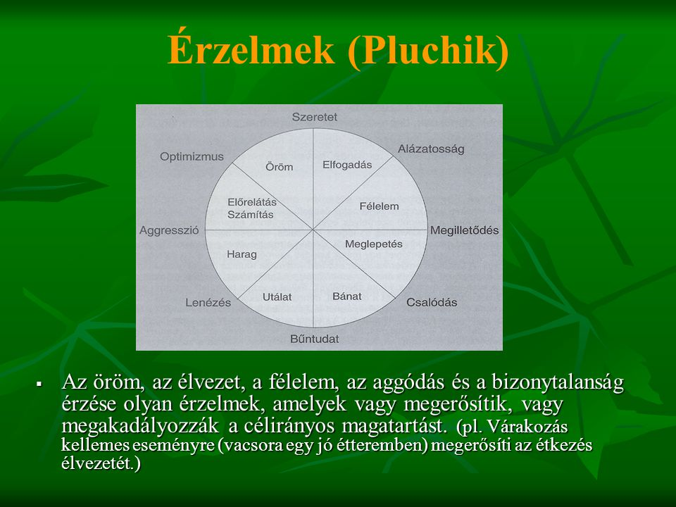 Érzelmek (Pluchik)  Az öröm, az élvezet, a félelem, az aggódás és a bizonytalanság érzése olyan érzelmek, amelyek vagy megerősítik, vagy megakadályoz