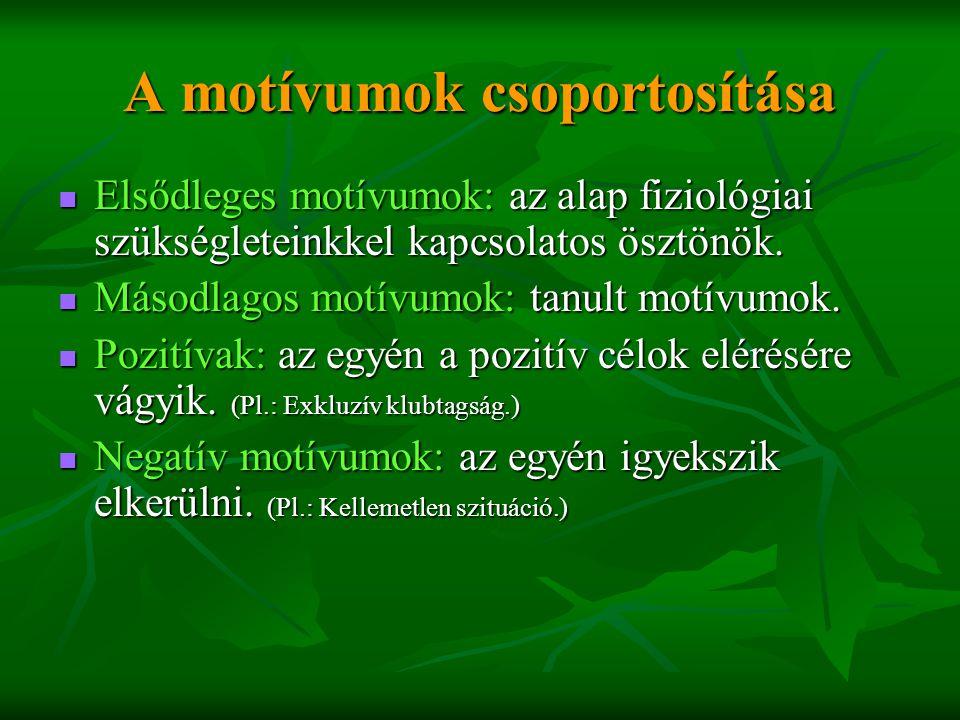 A motívumok csoportosítása  Elsődleges motívumok: az alap fiziológiai szükségleteinkkel kapcsolatos ösztönök.  Másodlagos motívumok: tanult motívumo