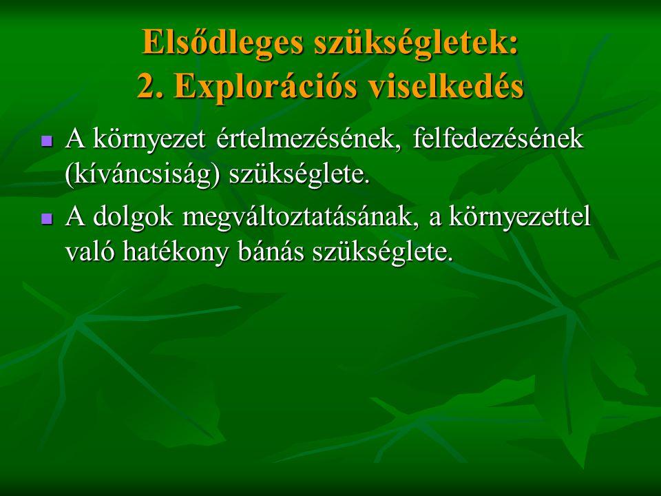 Elsődleges szükségletek: 2. Explorációs viselkedés  A környezet értelmezésének, felfedezésének (kíváncsiság) szükséglete.  A dolgok megváltoztatásán