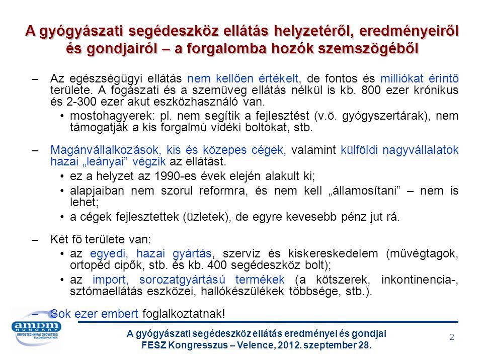 A gyógyászati segédeszköz ellátás eredményei és gondjai FESZ Kongresszus – Velence, 2012. szeptember 28. 2 –Az egészségügyi ellátás nem kellően értéke