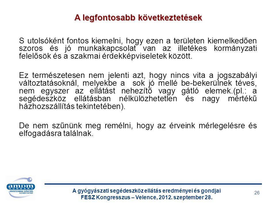 A gyógyászati segédeszköz ellátás eredményei és gondjai FESZ Kongresszus – Velence, 2012. szeptember 28. 26 S utolsóként fontos kiemelni, hogy ezen a