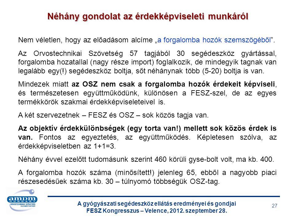 A gyógyászati segédeszköz ellátás eredményei és gondjai FESZ Kongresszus – Velence, 2012. szeptember 28. 27 Néhány gondolat az érdekképviseleti munkár