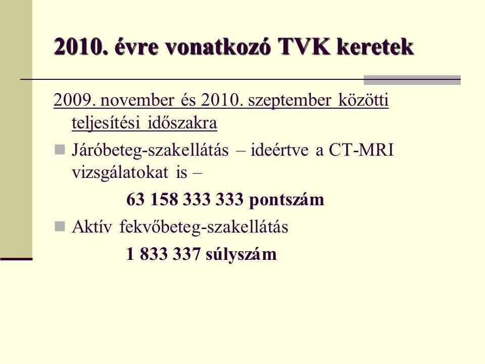 2010.évre vonatkozó TVK keretek 2009. november és 2010.