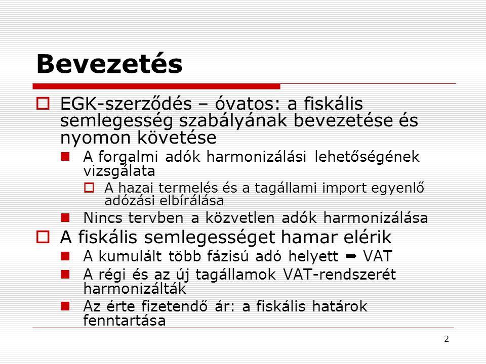 2 Bevezetés  EGK-szerződés – óvatos: a fiskális semlegesség szabályának bevezetése és nyomon követése  A forgalmi adók harmonizálási lehetőségének vizsgálata  A hazai termelés és a tagállami import egyenlő adózási elbírálása  Nincs tervben a közvetlen adók harmonizálása  A fiskális semlegességet hamar elérik  A kumulált több fázisú adó helyett  VAT  A régi és az új tagállamok VAT-rendszerét harmonizálták  Az érte fizetendő ár: a fiskális határok fenntartása