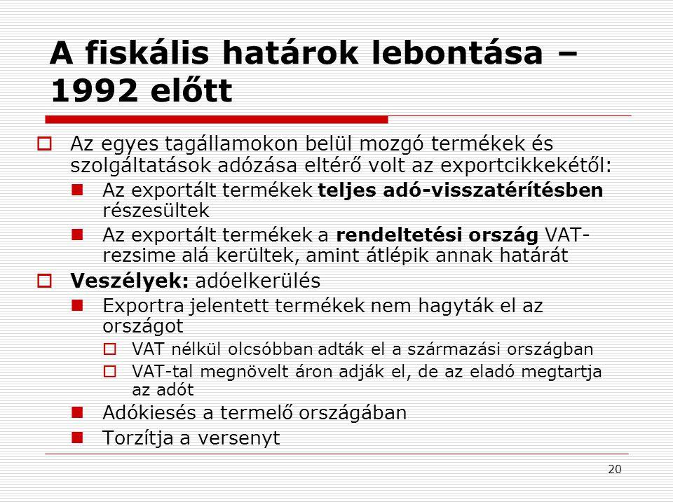 20 A fiskális határok lebontása – 1992 előtt  Az egyes tagállamokon belül mozgó termékek és szolgáltatások adózása eltérő volt az exportcikkekétől:  Az exportált termékek teljes adó-visszatérítésben részesültek  Az exportált termékek a rendeltetési ország VAT- rezsime alá kerültek, amint átlépik annak határát  Veszélyek: adóelkerülés  Exportra jelentett termékek nem hagyták el az országot  VAT nélkül olcsóbban adták el a származási országban  VAT-tal megnövelt áron adják el, de az eladó megtartja az adót  Adókiesés a termelő országában  Torzítja a versenyt