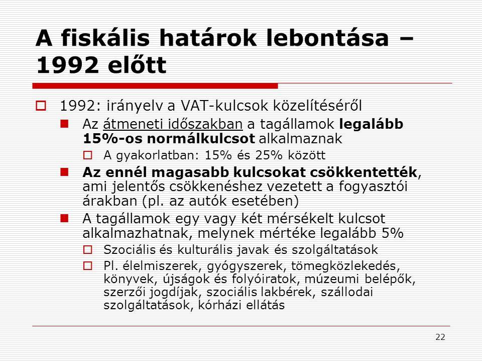 22 A fiskális határok lebontása – 1992 előtt  1992: irányelv a VAT-kulcsok közelítéséről  Az átmeneti időszakban a tagállamok legalább 15%-os normálkulcsot alkalmaznak  A gyakorlatban: 15% és 25% között  Az ennél magasabb kulcsokat csökkentették, ami jelentős csökkenéshez vezetett a fogyasztói árakban (pl.