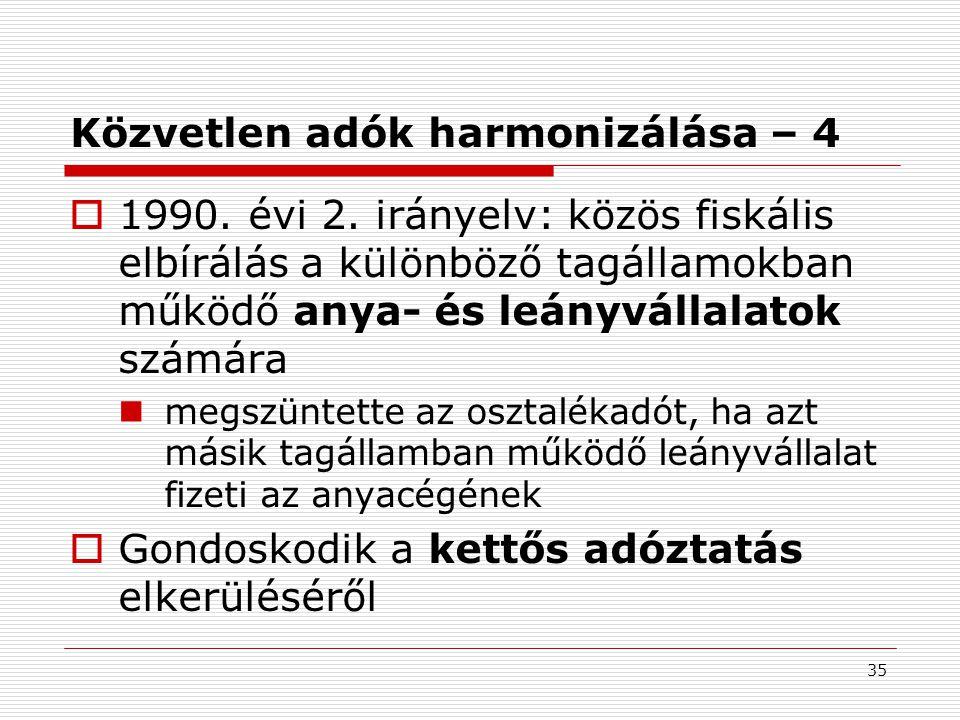 35 Közvetlen adók harmonizálása – 4  1990.évi 2.