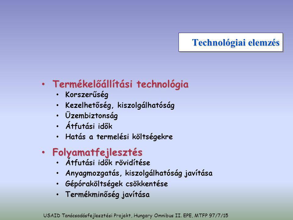 Technológiai elemzés • Termékelőállítási technológia • Korszerűség • Kezelhetőség, kiszolgálhatóság • Üzembiztonság • Átfutási idők • Hatás a termelés