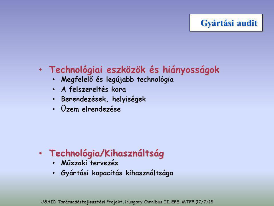 Gyártási audit • Technológiai eszközök és hiányosságok • Megfelelő és legújabb technológia • A felszereltés kora • Berendezések, helyiségek • Üzem elr