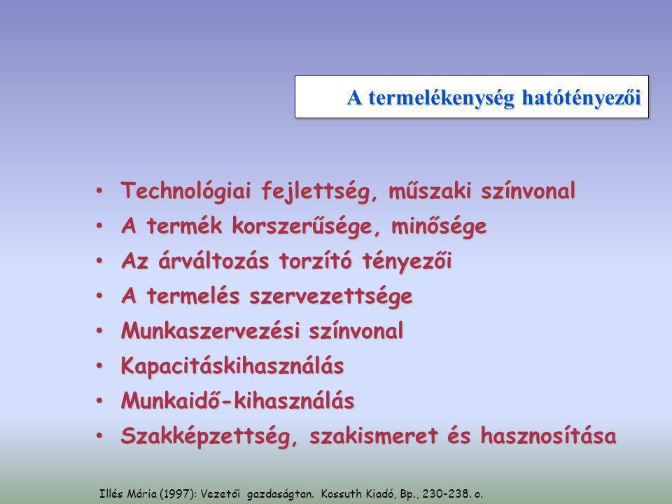Illés Mária (1997): Vezetői gazdaságtan. Kossuth Kiadó, Bp., 230-238. o. A termelékenység hatótényezői • Technológiai fejlettség, műszaki színvonal •