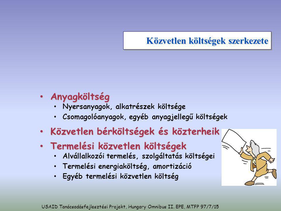 USAID Tanácsadásfejlesztési Projekt, Hungary Omnibus II. EPE, MTFP 97/7/15 Közvetlen költségek szerkezete • Anyagköltség • Nyersanyagok, alkatrészek k