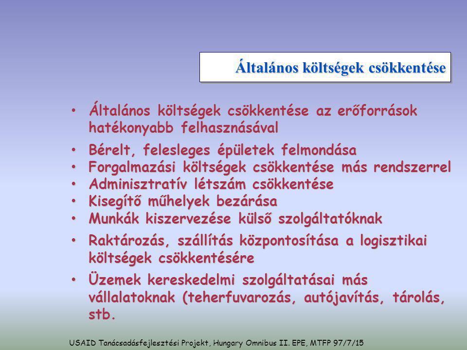 USAID Tanácsadásfejlesztési Projekt, Hungary Omnibus II. EPE, MTFP 97/7/15 Általános költségek csökkentése • Általános költségek csökkentése az erőfor