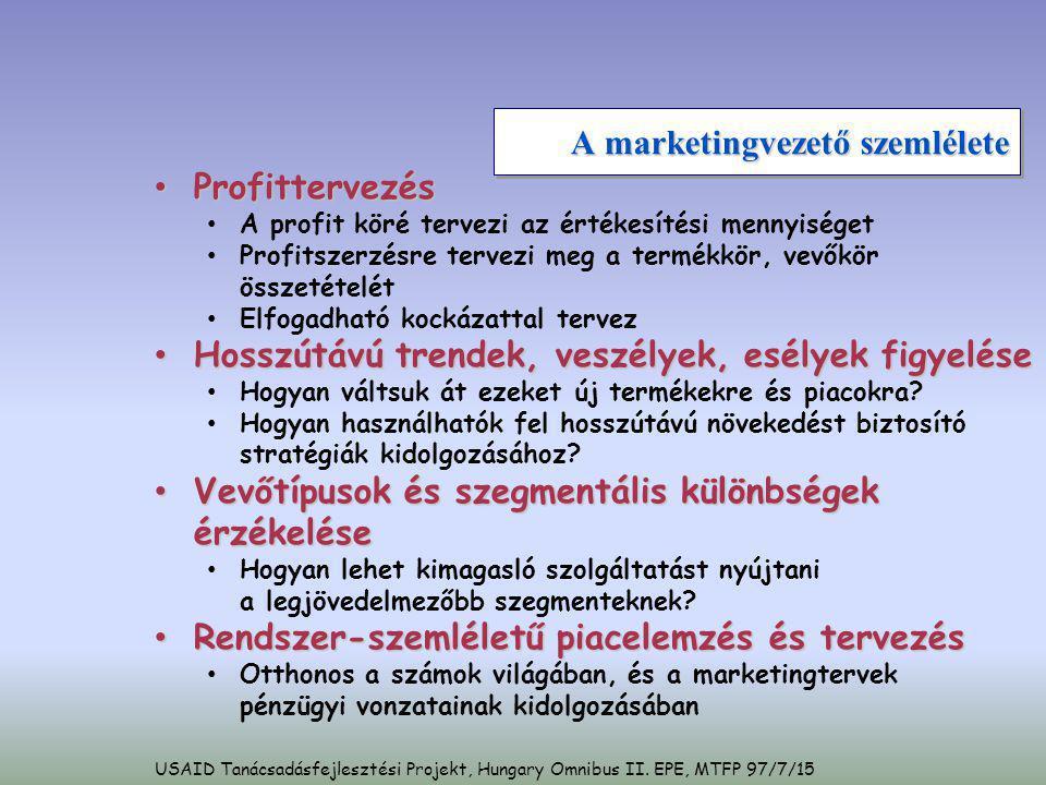 A marketingvezető szemlélete • Profittervezés • A profit köré tervezi az értékesítési mennyiséget • Profitszerzésre tervezi meg a termékkör, vevőkör ö