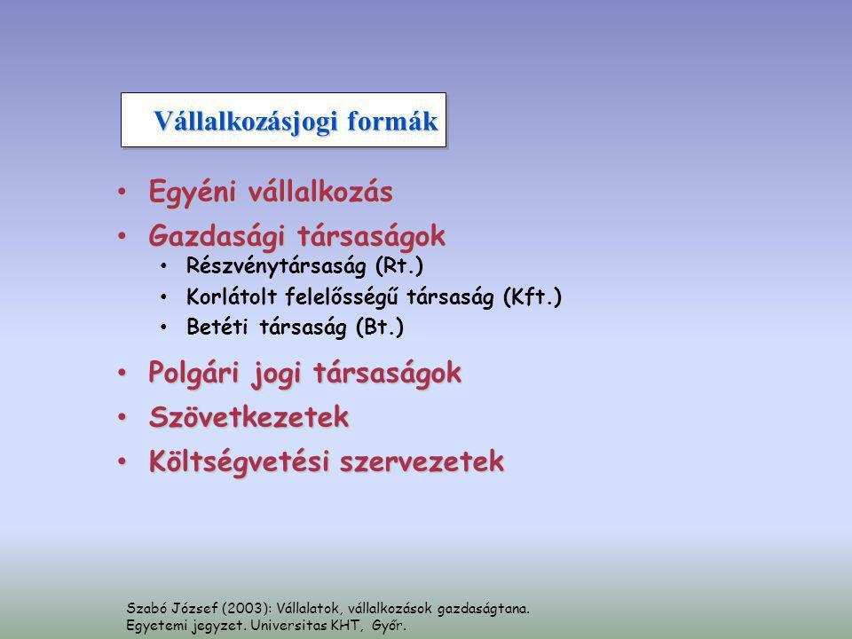 Szabó József (2003): Vállalatok, vállalkozások gazdaságtana. Egyetemi jegyzet. Universitas KHT, Győr. Vállalkozásjogi formák • Egyéni vállalkozás • Ga