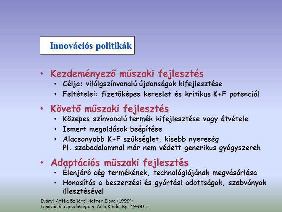 Innovációs politikák • Kezdeményező műszaki fejlesztés • Célja: vilálgszínvonalú újdonságok kifejlesztése • Feltételei: fizetőképes kereslet és kritik