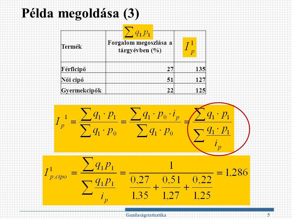 Példa megoldása (3) Gazdaságstatisztika5 Termék Forgalom megoszlása a tárgyévben (%) Férficipő27135 Női cipő51127 Gyermekcipők22125
