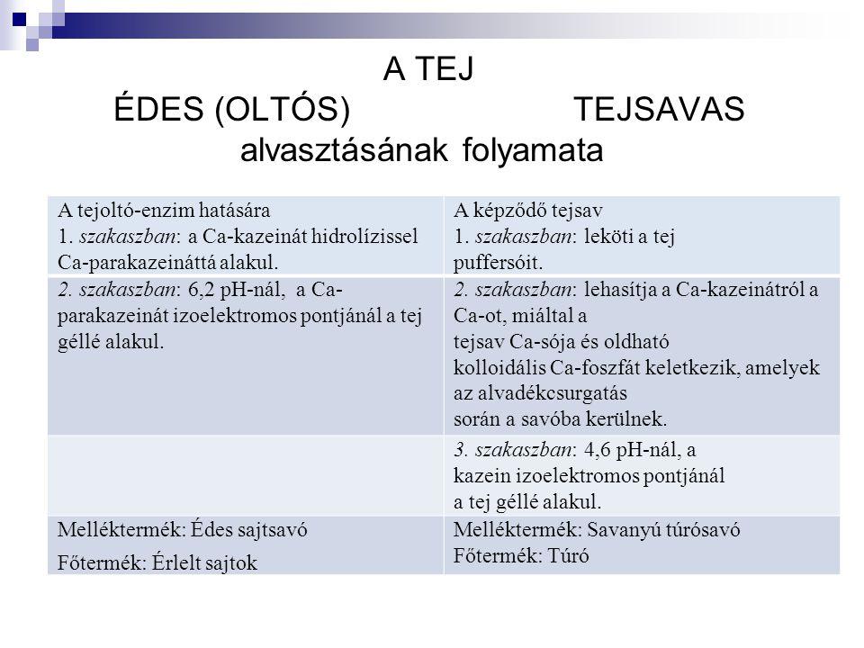 A TEJ ÉDES (OLTÓS) TEJSAVAS alvasztásának folyamata A tejoltó-enzim hatására 1.