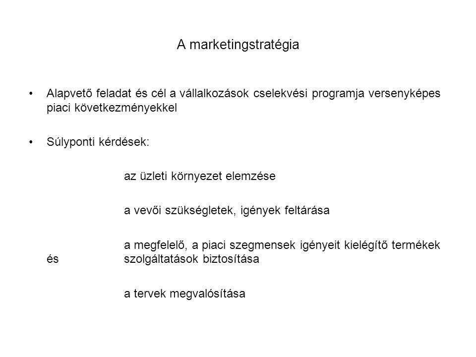 A marketingstratégia •Alapvető feladat és cél a vállalkozások cselekvési programja versenyképes piaci következményekkel •Súlyponti kérdések: az üzleti