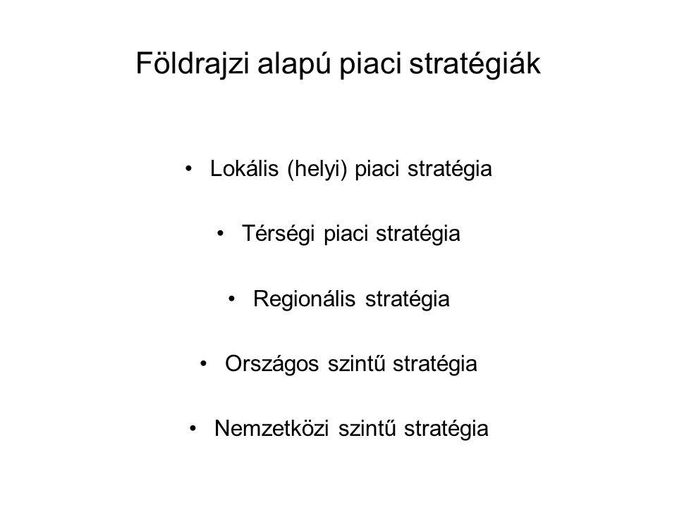 Földrajzi alapú piaci stratégiák •Lokális (helyi) piaci stratégia •Térségi piaci stratégia •Regionális stratégia •Országos szintű stratégia •Nemzetköz