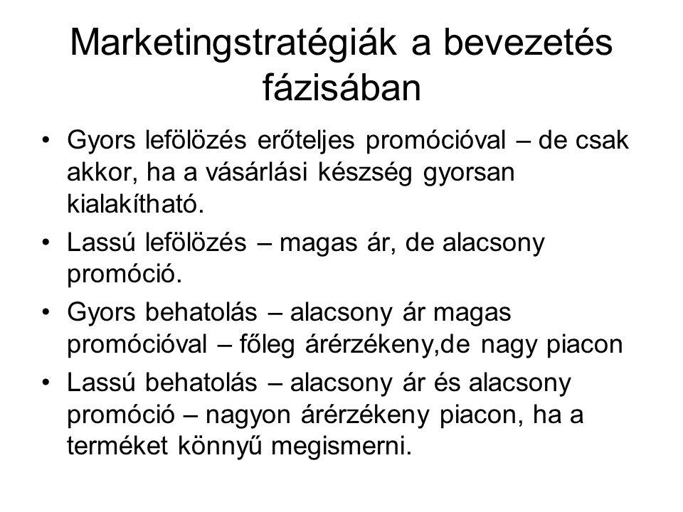 Marketingstratégiák a bevezetés fázisában •Gyors lefölözés erőteljes promócióval – de csak akkor, ha a vásárlási készség gyorsan kialakítható. •Lassú
