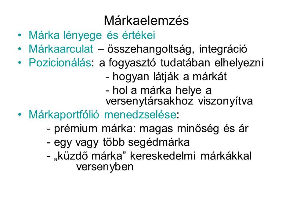 Márkaelemzés •Márka lényege és értékei •Márkaarculat – összehangoltság, integráció •Pozicionálás: a fogyasztó tudatában elhelyezni - hogyan látják a m