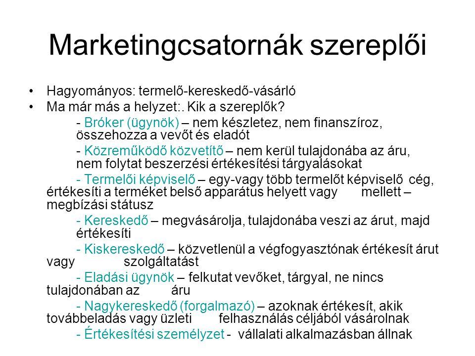 Marketingcsatornák szereplői •Hagyományos: termelő-kereskedő-vásárló •Ma már más a helyzet:. Kik a szereplők? - Bróker (ügynök) – nem készletez, nem f