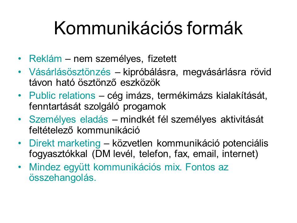 Kommunikációs formák •Reklám – nem személyes, fizetett •Vásárlásösztönzés – kipróbálásra, megvásárlásra rövid távon ható ösztönző eszközök •Public rel