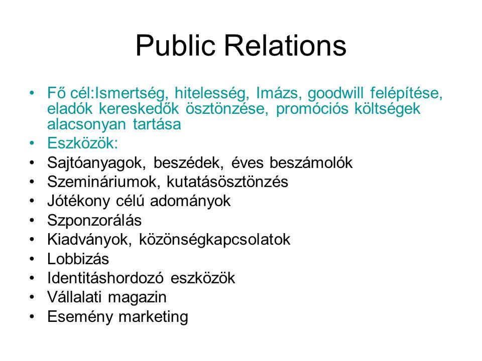 Public Relations •Fő cél:Ismertség, hitelesség, Imázs, goodwill felépítése, eladók kereskedők ösztönzése, promóciós költségek alacsonyan tartása •Eszk