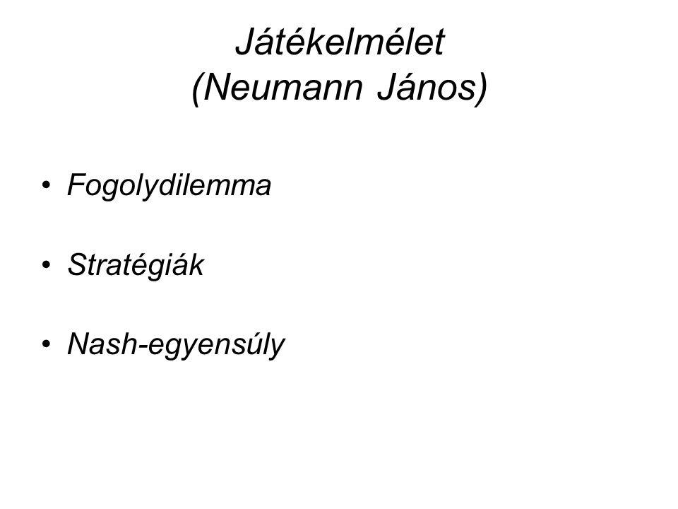 Játékelmélet (Neumann János) •Fogolydilemma •Stratégiák •Nash-egyensúly