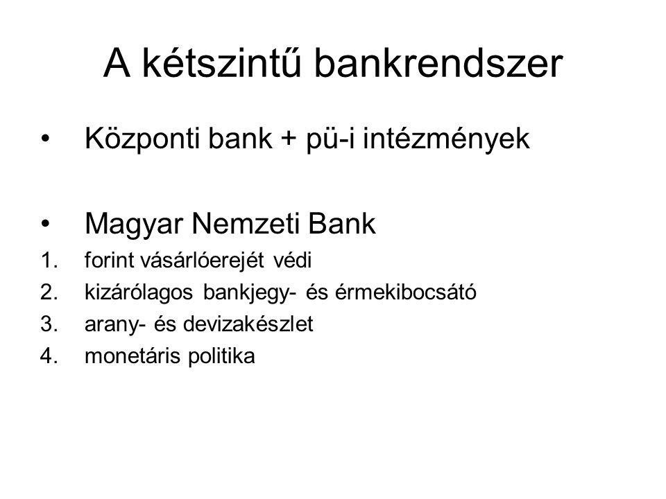 A kétszintű bankrendszer •Központi bank + pü-i intézmények •Magyar Nemzeti Bank 1.forint vásárlóerejét védi 2.kizárólagos bankjegy- és érmekibocsátó 3